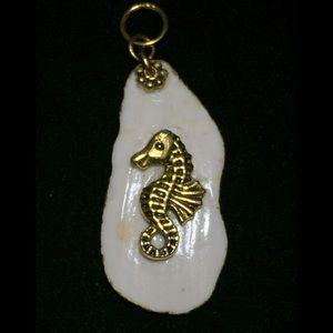 Shell Art. Gold Leaf Shell Pendant: 'My Sea Horse'